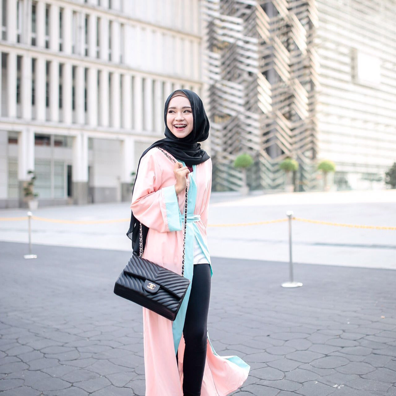 Long Cardigan Abaya - Aqua on Peach - Aly Ary - 1