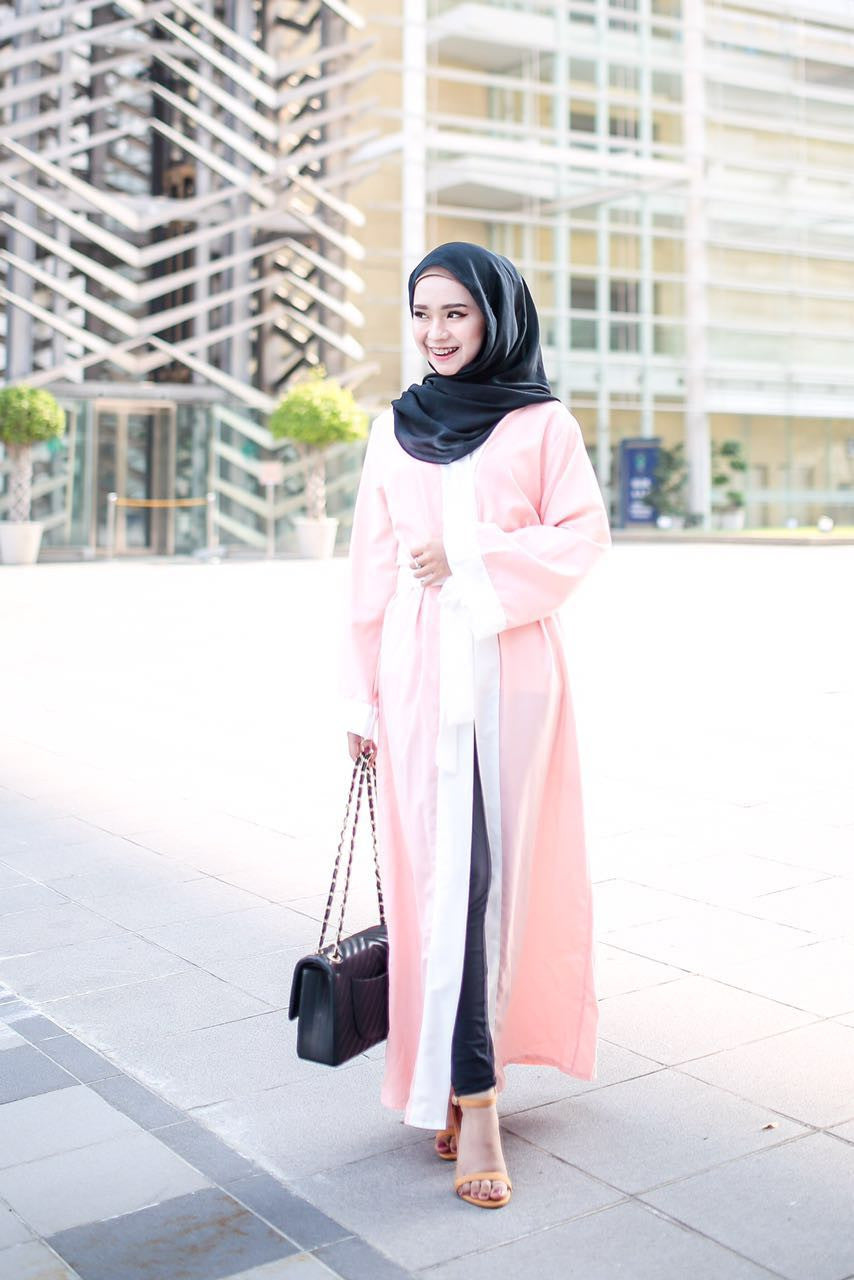 Long Cardigan Abaya - White on Peach - Aly Ary - 1