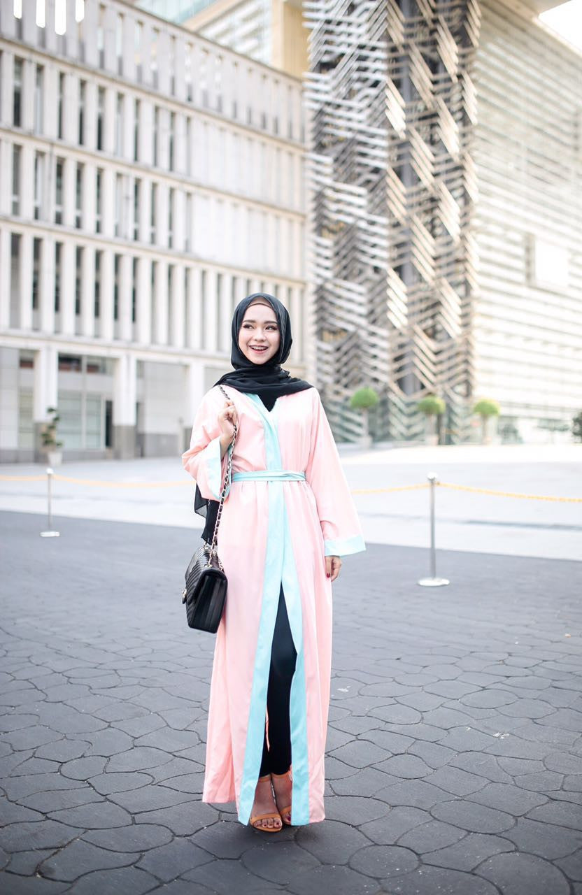 Long Cardigan Abaya - Aqua on Peach - Aly Ary - 2