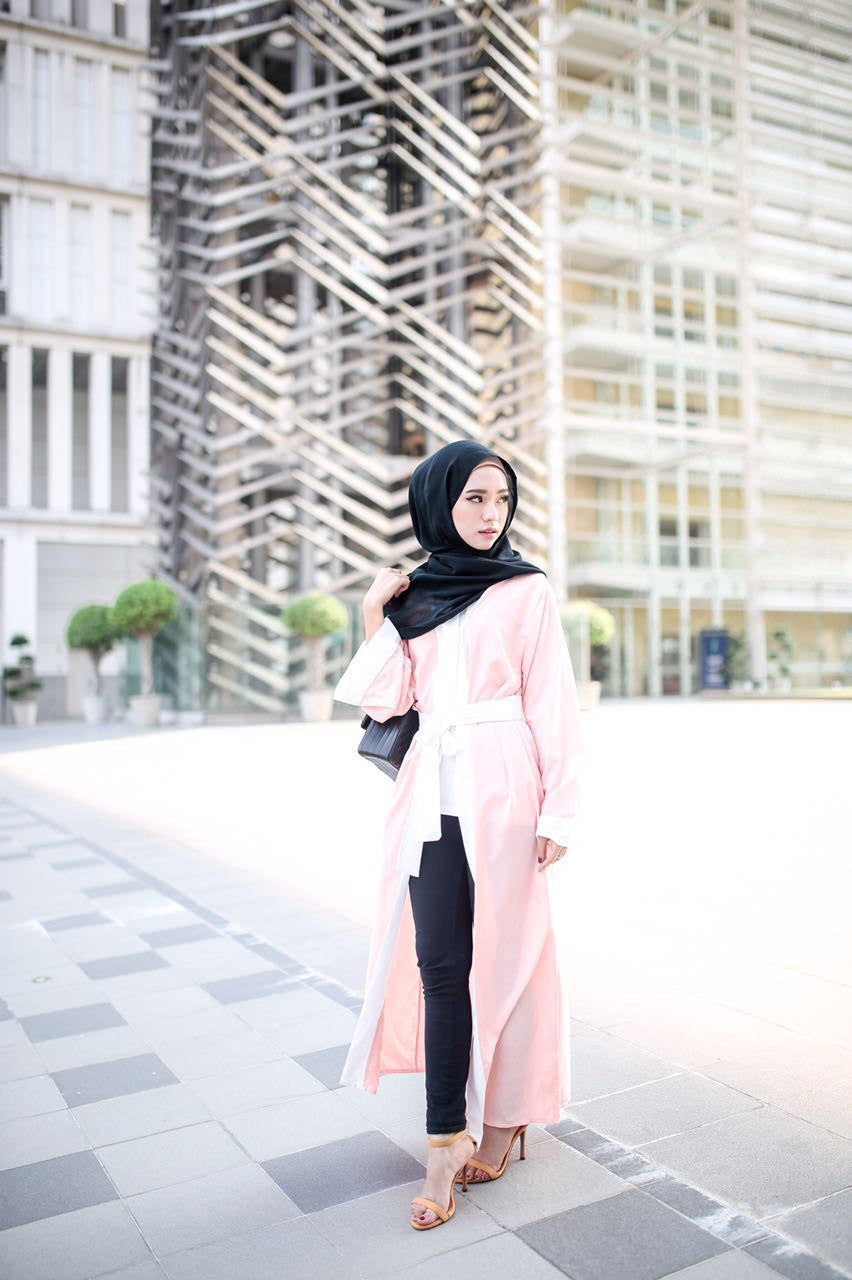 Long Cardigan Abaya - White on Peach - Aly Ary - 2