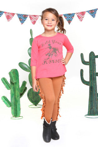 Haven Girl Western Nadine Pink Coral Cowgirl Horse Sequin Tunic Top