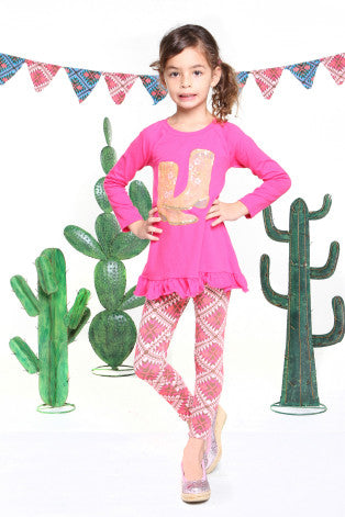 Haven Girl Western Lipstick Pink Cassidy Sequin Boots Tunic Top