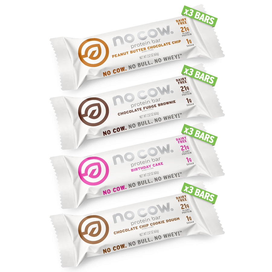 No Cow Best Seller Variety Pack of dairy free vegan protein bars