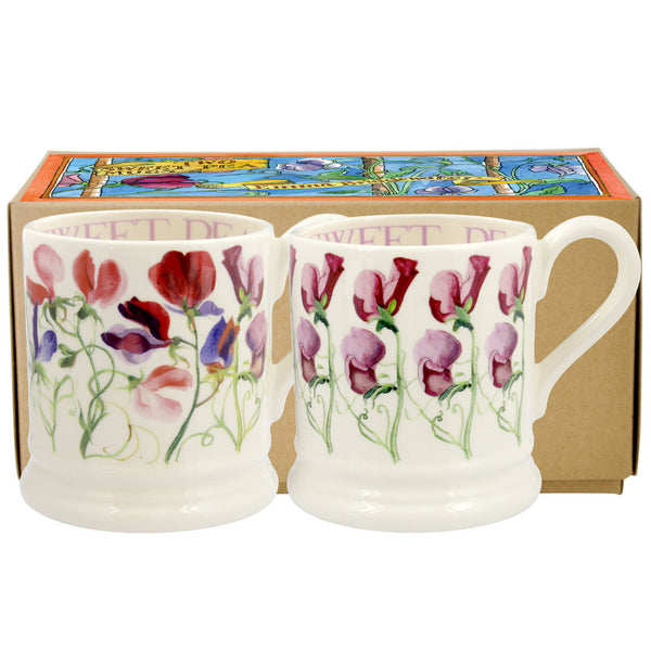 Sweet Pea Flowers Set of 2 1/2 Pint Mugs Boxed