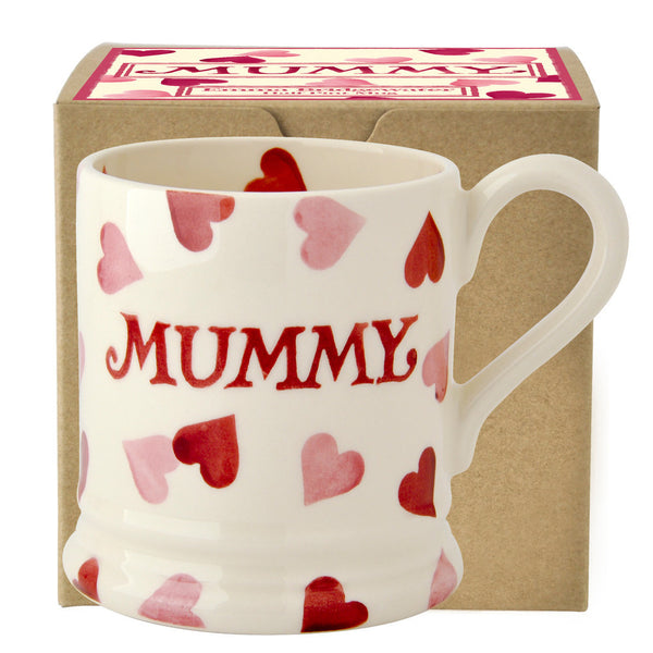 PIH030002 - EMMA BRIDGEWATER PINK HEARTS MUMMY 1/2 PINT MUG BOXED