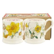 Daffodils & Narcissus Set Of 2 1/2 Pint Mugs Boxed