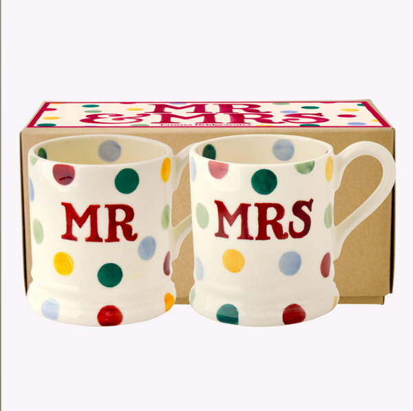 Polka Dot 'Mr & Mrs' Set of 2 1/2 Pint Mugs Boxed