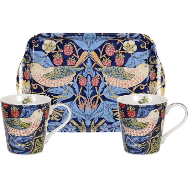 Blue Strawberry Thief Mug & Tray Set