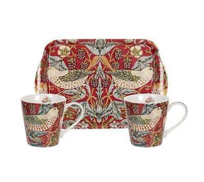 Red Strawberry Thief Mug & Tray Set