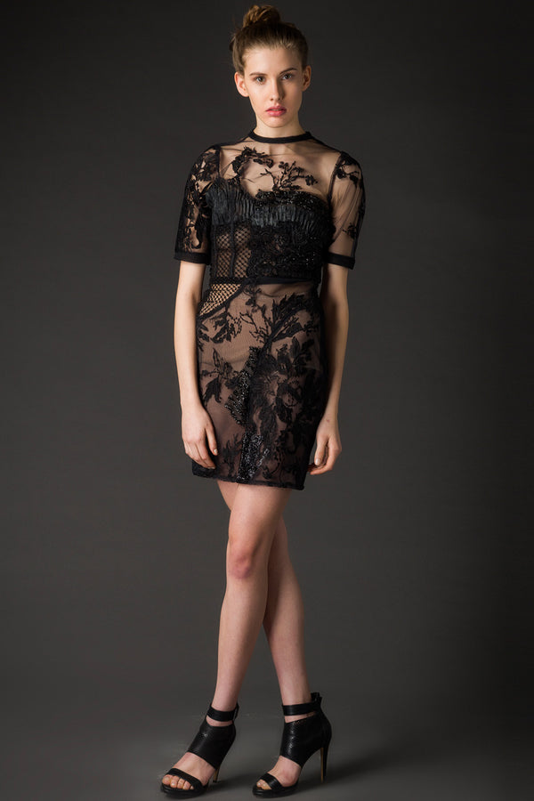Sandra - Black Embroidered Couture Dress - Oscar Mendoza