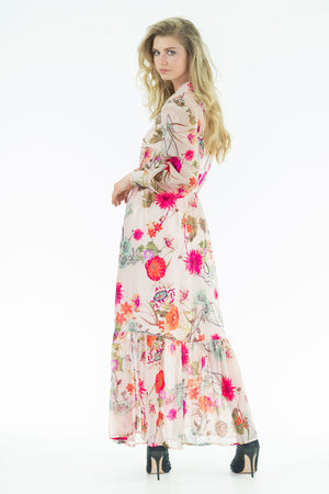 Tara Dress - Silk Lamé Chiffon Maxi Dress - Oscar Mendoza