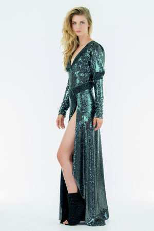 VEEZ - Silver Metallic Fitter Dress - Oscar Mendoza