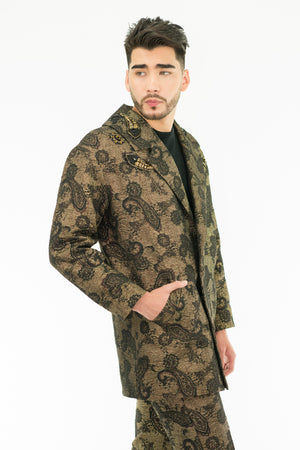 TRIMIY - Golden Jacquard - Embroidered Coat and Pants - Oscar Mendoza