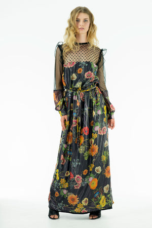 Tara Black - Silk Lamé Chiffon Dress Black Florals - Oscar Mendoza