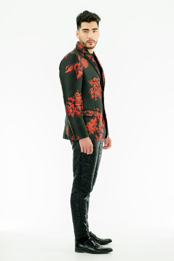 TRISTAN - Printed Jacquard Tailored Jacket - Oscar Mendoza