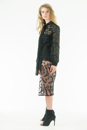 Sollange - Lace Long Shirt-Dress - Oscar Mendoza