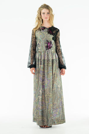 Kazzia - Long Maxi Dress with Decorative Appliqués - Oscar Mendoza