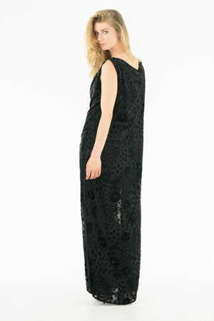 Zoreen - Silk Velvet Dévoré Long Dress - Flower Print - Oscar Mendoza