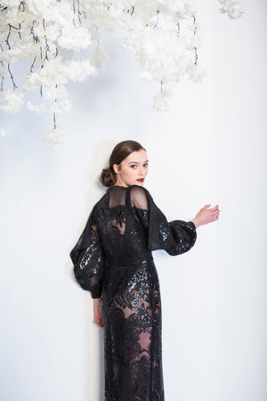 Noreen - See-through Draped Sleeve Sequins Dress