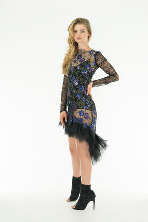 BELLA - See-through French Chantilly Embroidered Lace Dress - Oscar Mendoza