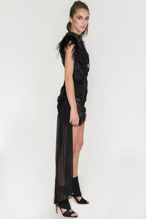 Barroque Feather Dress - Oscar Mendoza