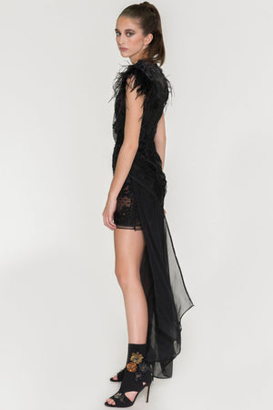 Barroque Shoulder - Embellishment Dress - Oscar Mendoza