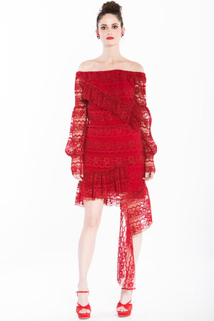 Camilla - Off-shoulder Red Lace Dress - Oscar Mendoza