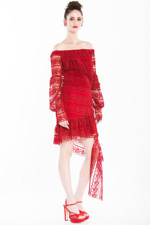 Camilla - Off-shoulder Red Lace Dress