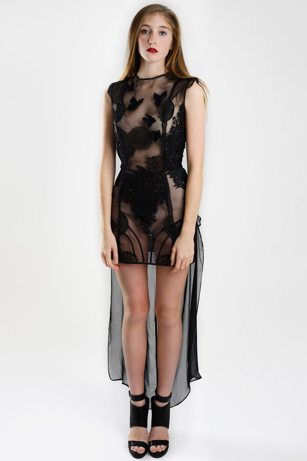 Barroque Black - Mesh and Guipure Dress