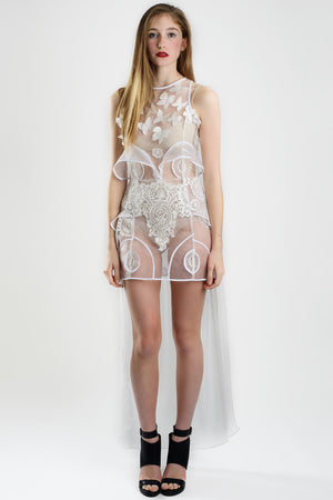 Barroque White - Mesh and Guipure Dress