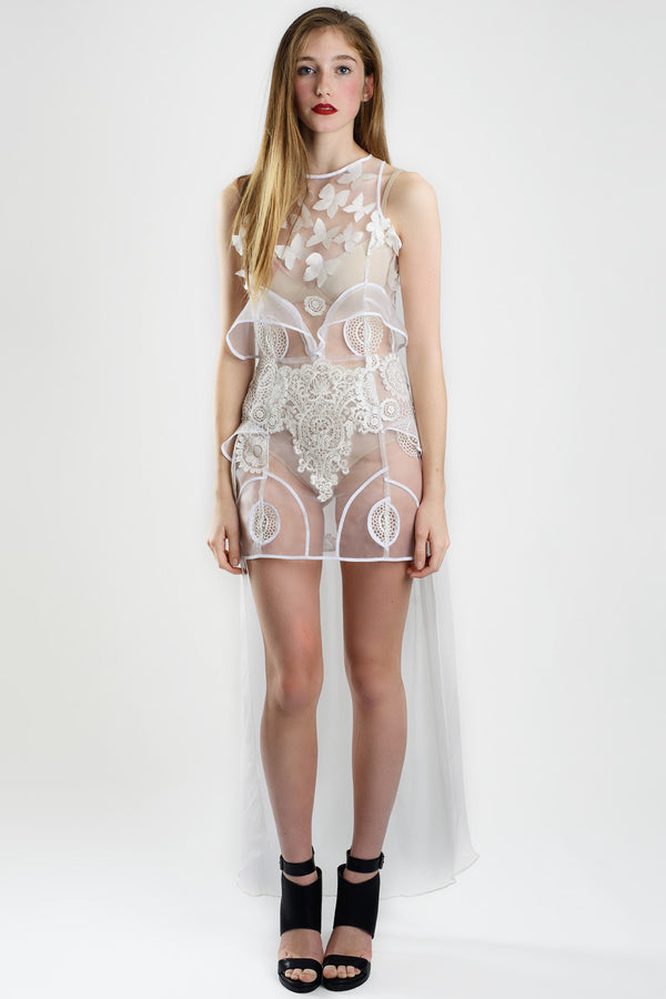 Barroque White - Mesh and Guipure Dress - Oscar Mendoza