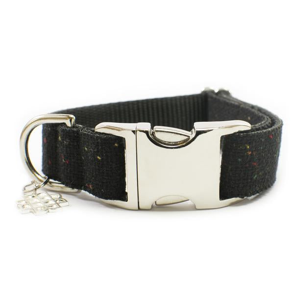 Black Modern Burlap Leash & Collar Set