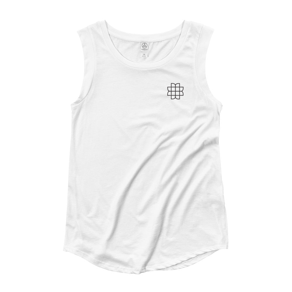 Ladies' Cap Sleeve Tank - White/Gray - MATTIE + MARGOT