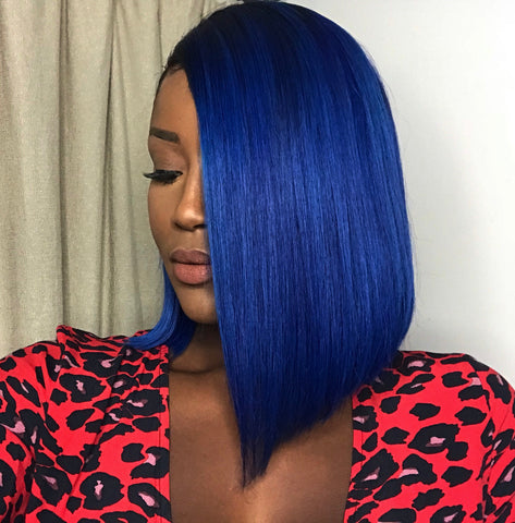 """Blue Velvet"" - 100% Virgin Hair Blue Bob Wig"