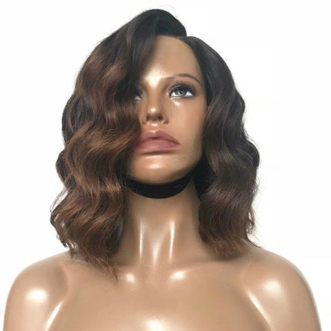 """Mocha Swirl"" - 100% Virgin Hair Wavy Bob Wig"