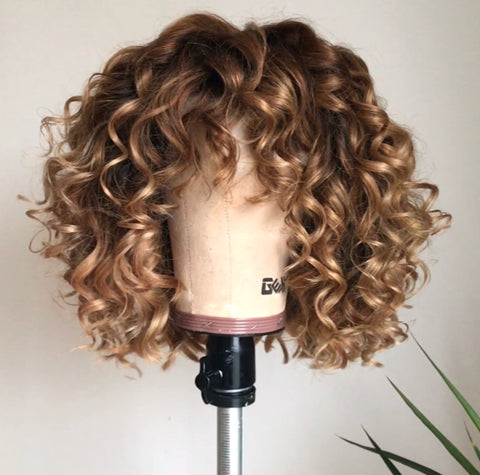 """Bossy"" - Handmade, 100% Virgin Hair Honey Blonde Curly Wig"