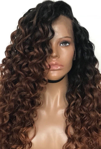 'Caramel Dream' - 100% Human Hair Curly Lace Front Wig