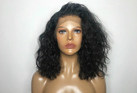 """Spanish Wave"" - 100% Virgin Hair Short Wavy Wig"