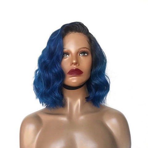 """Blue Haze"" - 100% Virgin Short Wavy Blue Wig"