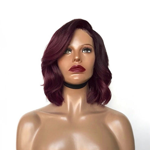 """Layla"" - 100% Virgin Hair Red or Black Side Part Wig"