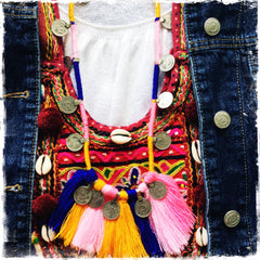 KUCHI COIN PINK DENIM| Tassel Fringe Necklace - Honorooroo Lifestyle