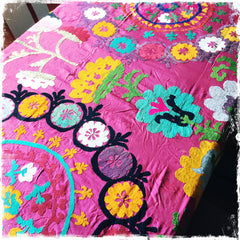 SOLD!!!!!!Suzani Vintage Embroidery Bedspread, Antique Silk Tablecloths and Wall Hangings - Honorooroo Lifestyle