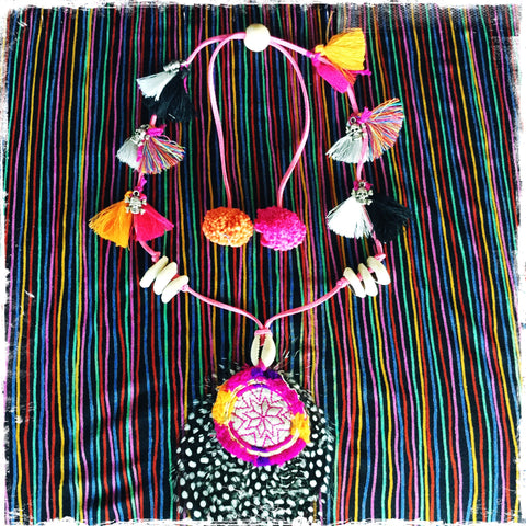 Feather Boho Necklace Chakra-Shaka Handmade