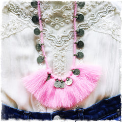 Kuchi Coin Pink Fringe Necklace - Honorooroo Lifestyle