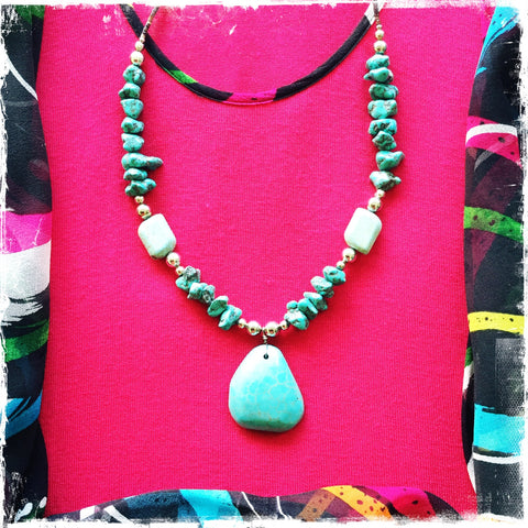 "Turquoise ""Chumani"" and Nugget Pendant - Honorooroo Lifestyle"