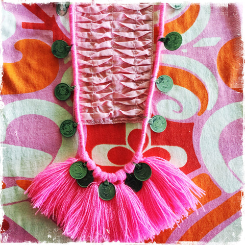 Kuchi Coin Hot Pink Necklace