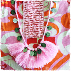 KUCHI COIN PINK |Tassel Fringe Necklace - Honorooroo Lifestyle