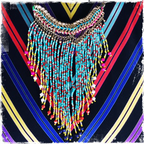 Fringe Beaded Necklace( Aqua/ Yellow)