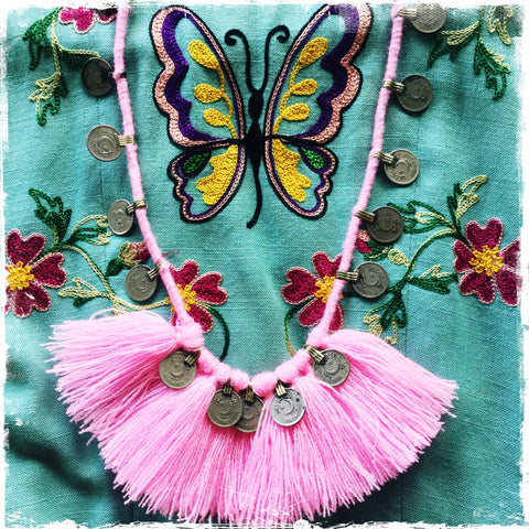 Kuchi Coin Pink Fringe Necklace