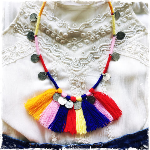 KUCHI COIN SALSA| Tassel Fringe Necklace - Honorooroo Lifestyle